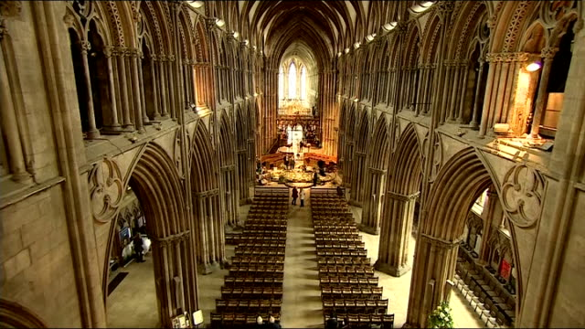 vigil for cancer sufferer and fundraiser stephen sutton cathedral preparations and interview england staffordshire lichfield tone heard over these... - lichfield stock videos & royalty-free footage