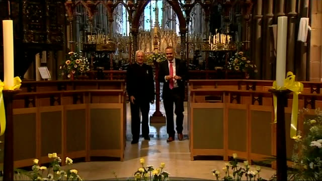vigil for cancer sufferer and fundraiser stephen sutton lichfield hannah telles interview sot reporter along with very reverend adrian dorber... - lichfield stock videos & royalty-free footage