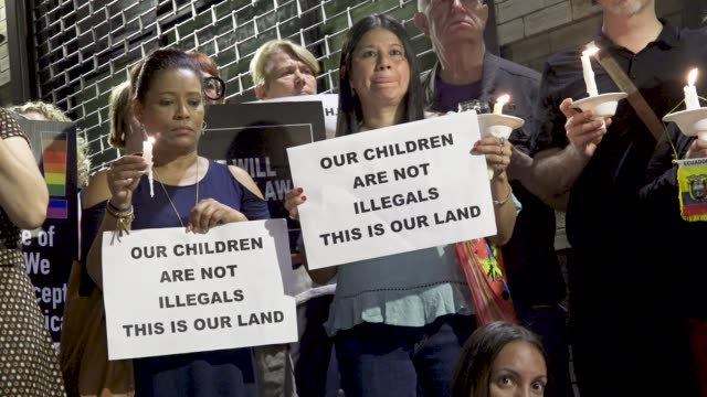 A vigil is held at the Manhattan social service agency Cayuga Children's Centers in Harlem Manhattan which holds undocumented Central American...