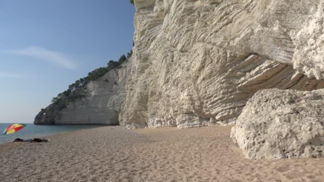 pan / vignanotica beach with white limestone rocks at the adriatic sea - adriatic sea stock videos & royalty-free footage
