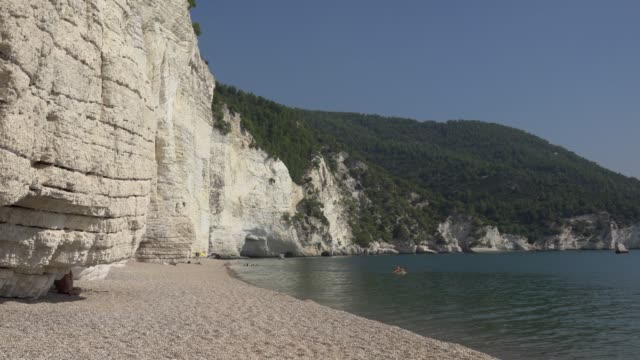 vignanotica beach with white limestone rocks at the adriatic sea - 石灰岩点の映像素材/bロール