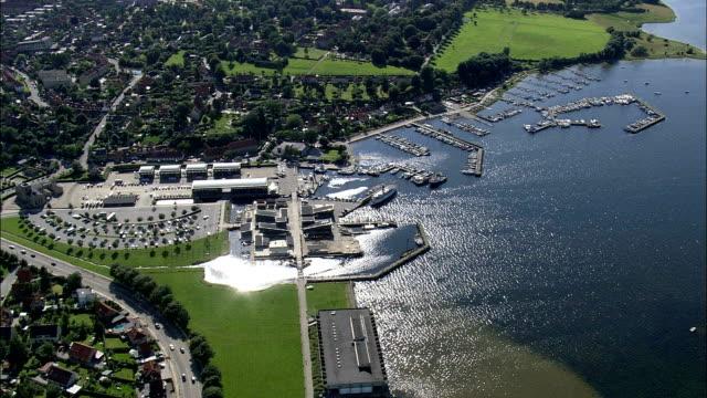viking ship museum, roskilde  - aerial view - zealand, roskilde kommune, denmark - denmark stock videos & royalty-free footage