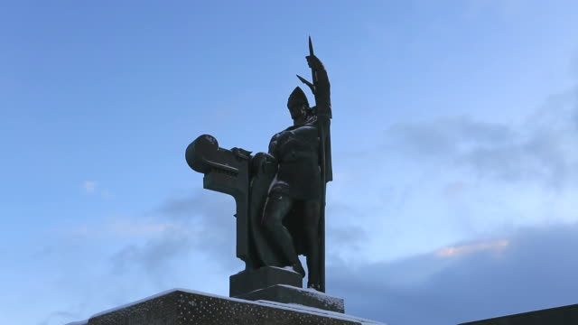 viking statue, reykjavik, iceland, - viking stock videos and b-roll footage