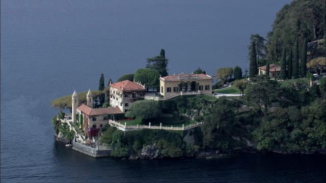 Villa Del Balbianello-Luftaufnahme-Lombardei, Provincia di Como, Lenno, Italien