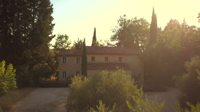 Villa in the south of France with the setting sun behind