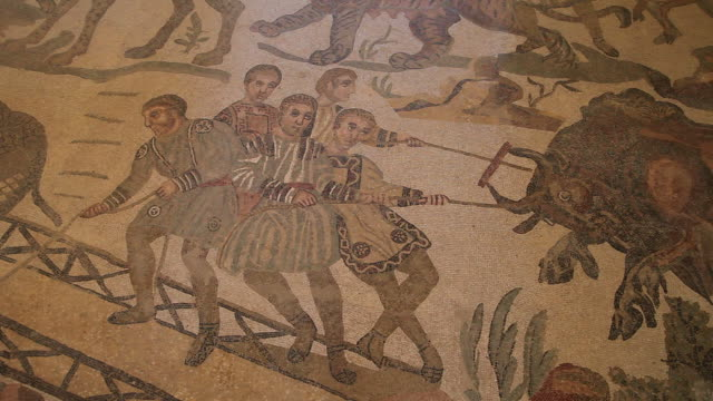 villa romana del casale, roman mosaics in the roman villa near piazza armerina - mosaic stock videos and b-roll footage