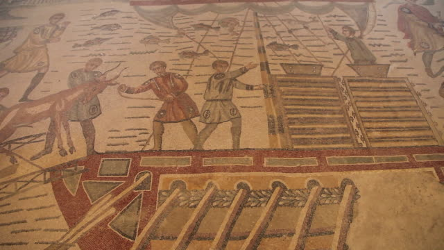 villa romana del casale, roman mosaics in the roman villa near piazza armerina - mosaic stock-videos und b-roll-filmmaterial