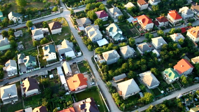 village, aerial view - district stock videos & royalty-free footage