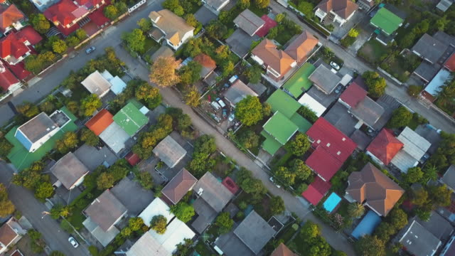 village, aerial view - houses in a row stock videos & royalty-free footage