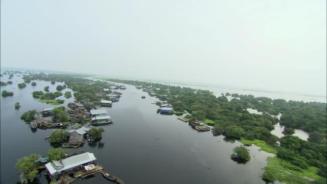 WS AERIAL Village along Mekong River, Cambodia