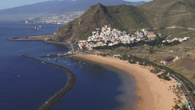 WS, TD, HA, village and beach at foot of hill, Tenerife, Canary Islands, Spain