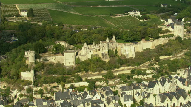 aerial, village and castle of chinon, indre-et-loire, france - fortezza video stock e b–roll
