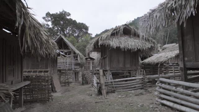 ws village and huts / xam neua, laos - tetto di paglia video stock e b–roll