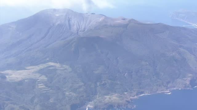 aerial, village and kuchinoerabujima is, kagoshima, japan - philippine sea stock videos & royalty-free footage