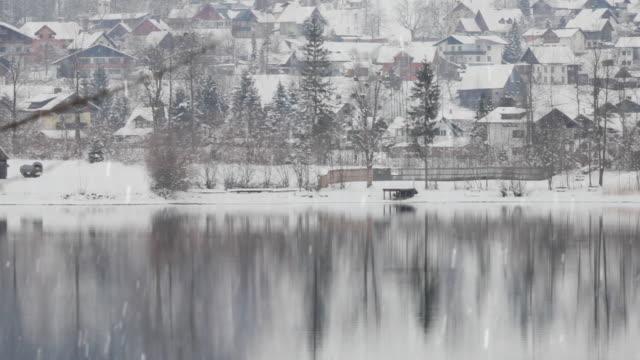 WS PAN Village at Hallstatter Lake in snow, Austria