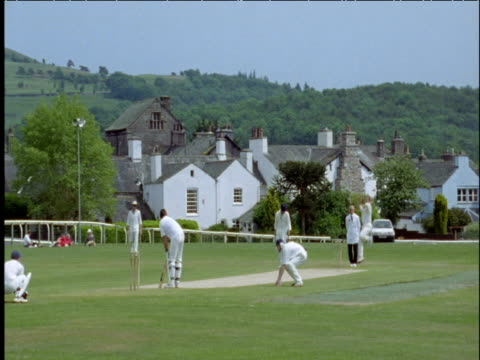 village cricket match cartmel lake district - cricket stock videos & royalty-free footage