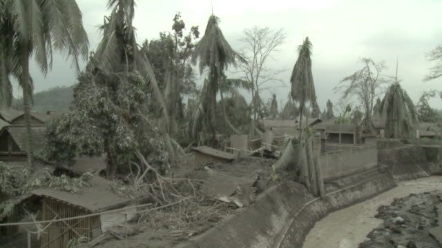 Village devastated by heavy Ashfall from eruption of Merapi volcano; Indonesia. 7 November 2010 / AUDIO