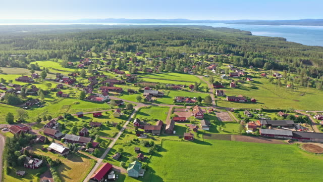 village in dalarna, sweden - drone point of view stock videos & royalty-free footage