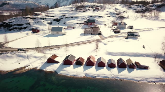 Village in the fjords aerial view in Norway