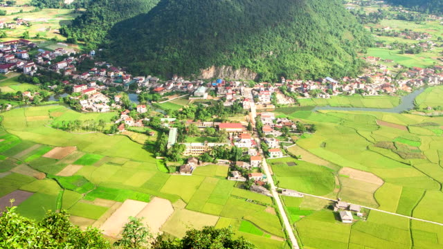 village in valley at Bac Son, Long Son, Vietnam