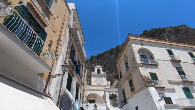 village of atrani, smallest city in italy, traveling ion amalfi coast, italy, europe. - slow motion - villaggio video stock e b–roll