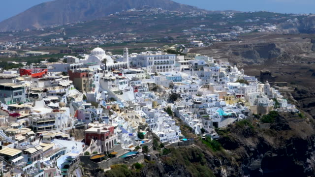 village of fira in santorini island, greece - oia santorini stock videos & royalty-free footage
