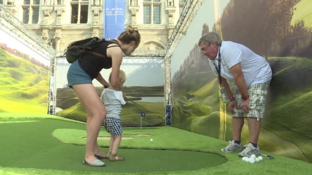 a village of free activities dedicated to golf has been set up for 10 days on the square in front of the hotel de ville in paris a few days before... - hotel de ville paris stock videos & royalty-free footage