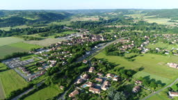Village of Siorac-en-Périgord in France from the sky