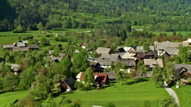 ws zo village of studor with julian alps in background / bohinj, triglav national park, slovenia - triglav national park stock videos and b-roll footage