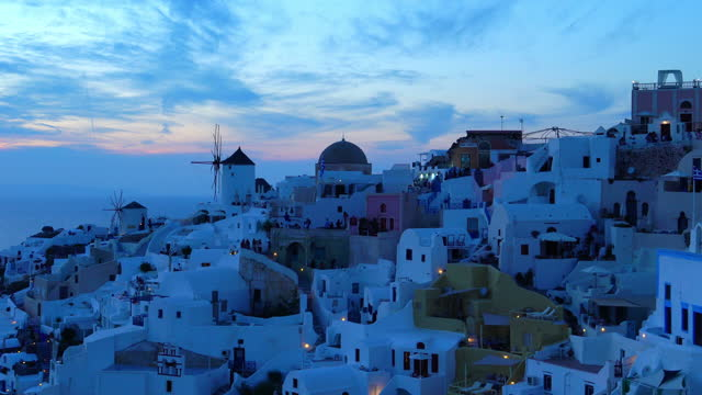 village oia on santorini island, greece stock - oia santorini stock videos & royalty-free footage