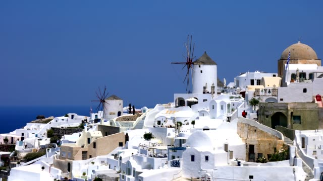 village oia on santorini island, greece - mediterranean culture stock videos & royalty-free footage
