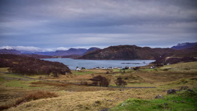 village on applecross peninsula, scotland - time lapse - day to dusk stock videos & royalty-free footage