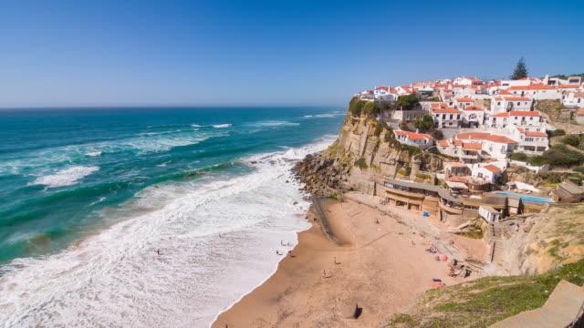 Village on cliffs by the ocean