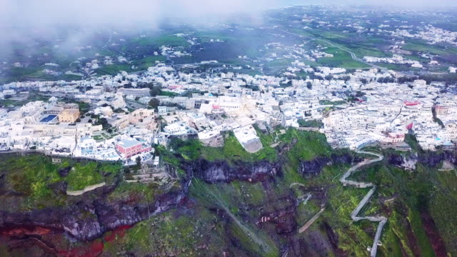 village on santorini island seen from drone - santorini stock videos & royalty-free footage