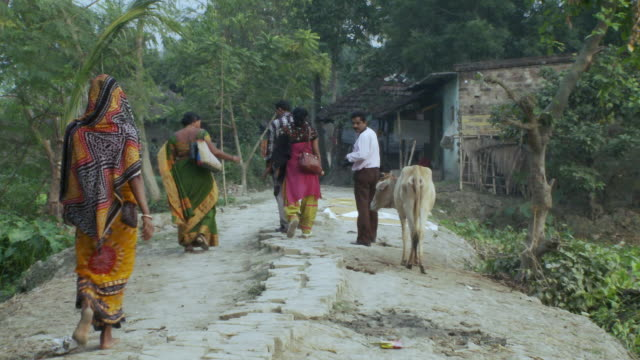 villagers in india walking down dirt path - westbengalen stock-videos und b-roll-filmmaterial