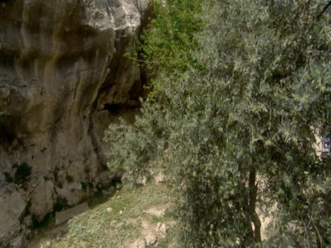 stockvideo's en b-roll-footage met villagers leading donkeys travel up mount zion. - mid volwassen mannen