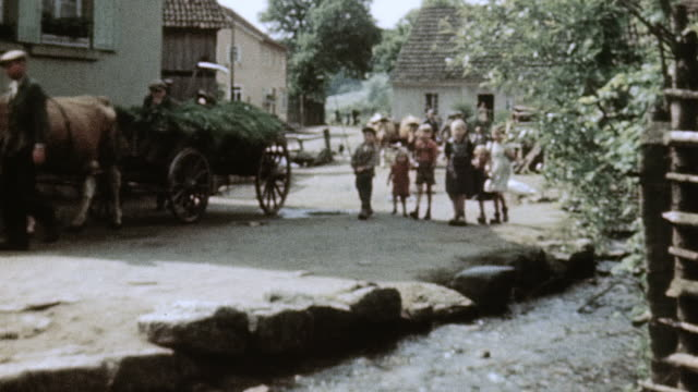 villagers, oxen carts, geese, and children in street / bad kissingen, germany - baviera video stock e b–roll