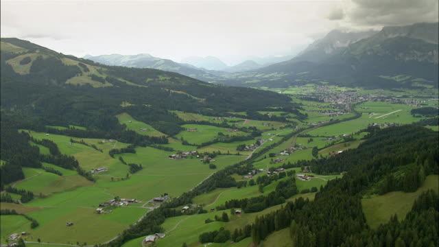 AERIAL Villages in valley / Attersee, Upper Austria, Austria