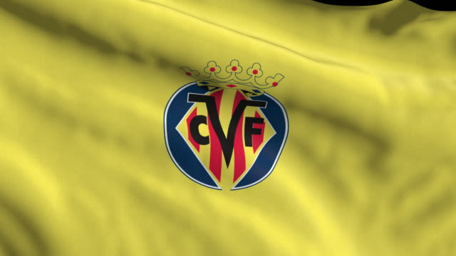villarreal cf spanish soccer team flag waving. computer generated animation for editorial use. seamlessly looped and close up. - loopable moving image stock videos & royalty-free footage