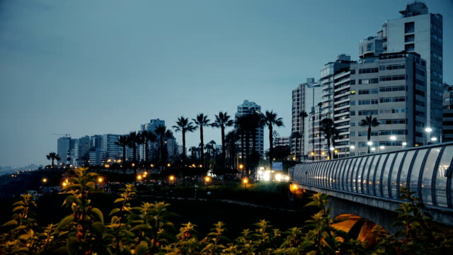 villena bridge timelapse in miraflores, lima peru - lima peru stock videos and b-roll footage