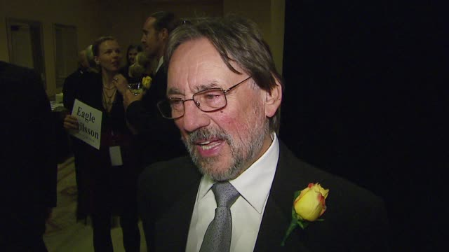stockvideo's en b-roll-footage met vilmos zsigmond on being nominated for the black dahlia on the asc future plans at the asc awards at hyatt regency century plaza in los angeles... - century plaza