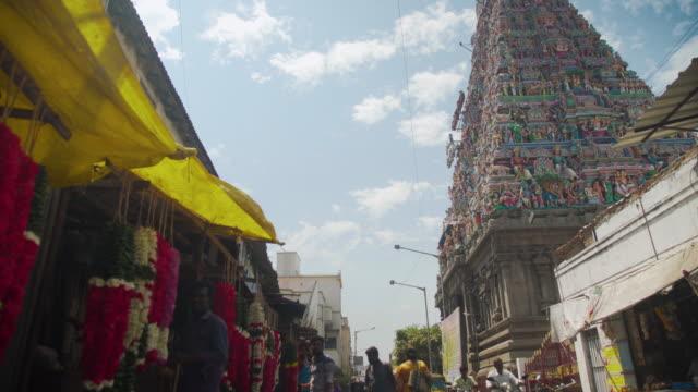vimana of kapaleeswarar hindu temple and floral garland market at chennai - low angle view stock videos & royalty-free footage