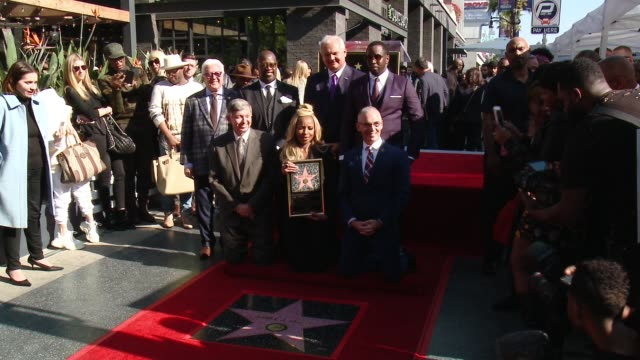 Vin Di Bona Andre Harrell Jeff Zarrinnam Sean 'Diddy' Combs Leron Gubleat Mary J Blige and Mitch O'Farrell at the Mary J Blige Hollywood Walk of Fame...