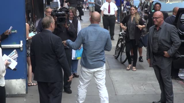 vin diesel arrives at the good morning america show and greets fans before going in celebrity sightings in new york on july 29 2014 in new york city - vin diesel stock videos and b-roll footage