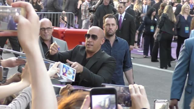 vin diesel arriving to the guardians of the galaxy 2 premiere at dolby theatre in hollywood in celebrity sightings in los angeles - vin diesel stock videos and b-roll footage