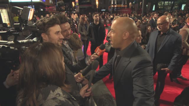 vin diesel at 'the last witch hunter' uk film premiere at empire leicester square on october 19, 2015 in london, england. - leicester square stock videos & royalty-free footage