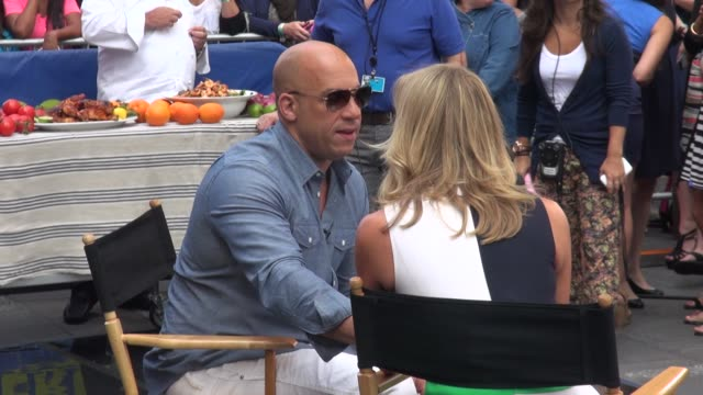 vin diesel being interviewed on the outside set of the good morning america show in times square celebrity sightings in new york on july 29 2014 in... - vin diesel stock videos and b-roll footage