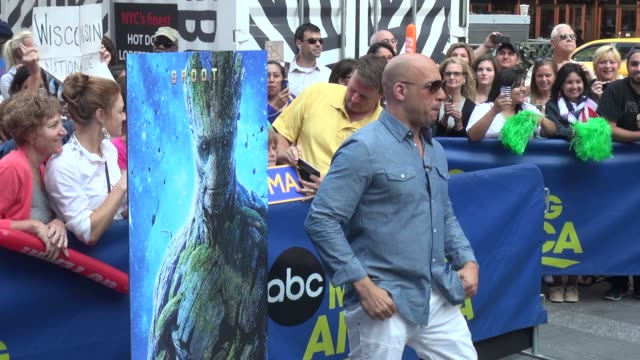 vin diesel gets pumped on the outside set of the good morning america show in times square celebrity sightings in new york on july 29 2014 in new... - vin diesel stock videos and b-roll footage