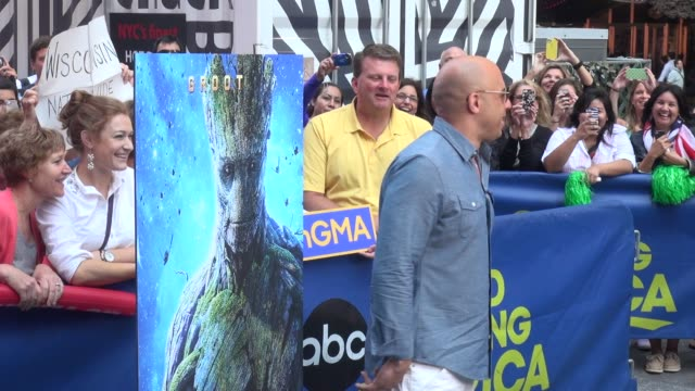 vin diesel gets the crowd pumped on the outside set of the good morning america show in times square celebrity sightings in new york on july 29 2014... - vin diesel stock videos and b-roll footage