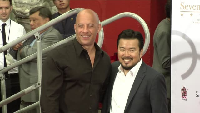 Vin Diesel joins Justin Lin and Chinese stars in handprint and footprint ceremony at the world famous Chinese Theatre in Hollywood
